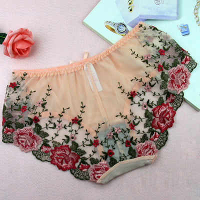 Embroidery Low-Rise Floral Lace Panties