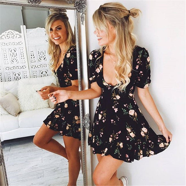V neck Mini Boho Floral Beach Dress