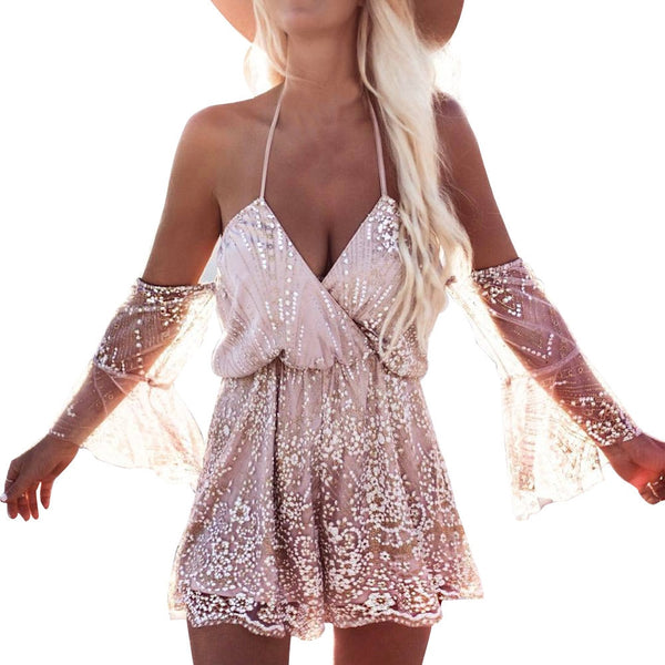 Deep V Sequin Summer Beach Club Jumpsuit Rompers Embroidery