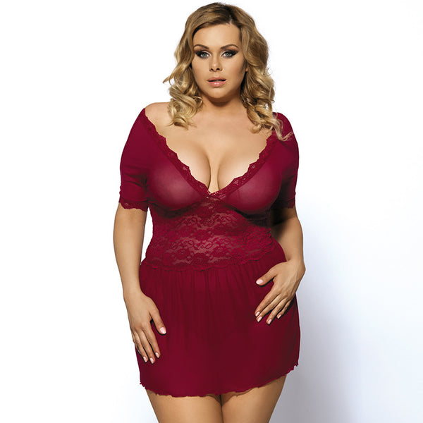 Sexy Trendy Floral Lace Elegant  Deep V-Neck Lingerie for Plus Size Women