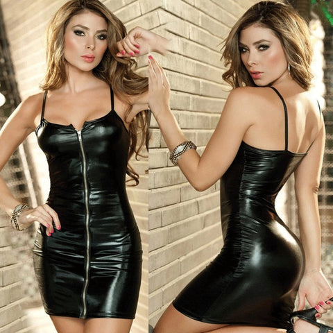 Leather Zip Erotic Sexy Lingerie Apparel