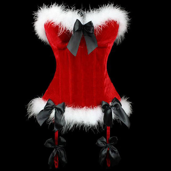 Sexy Red Christmas Corset Body Suit