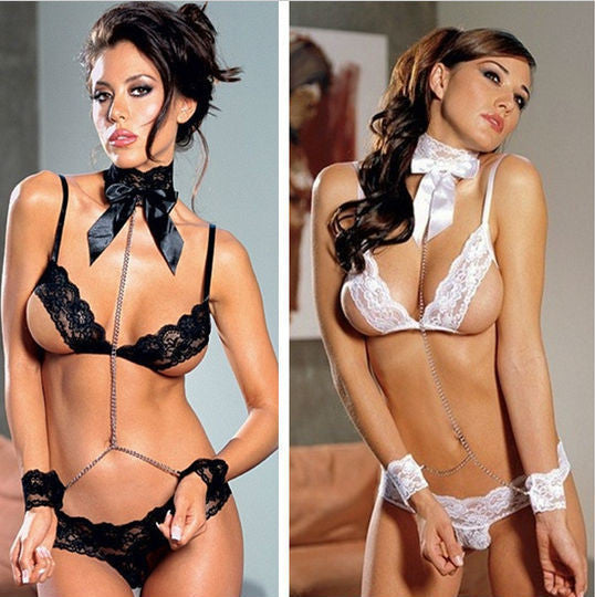 Sexy Lingerie Costumes Set With Buckles + G String + Handcuff + Tie