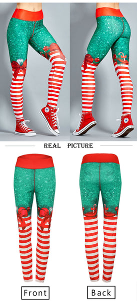 Christmas Striped Printed Leggings