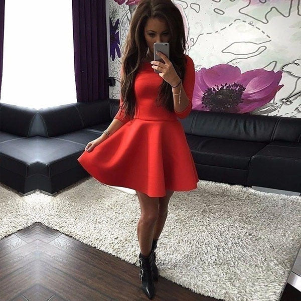 New Sexy Fashion 3/4 Sleeve Ruffles O Neck Spring Dress