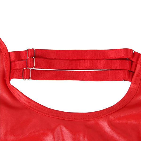 Red Leather Open Bust Teddy