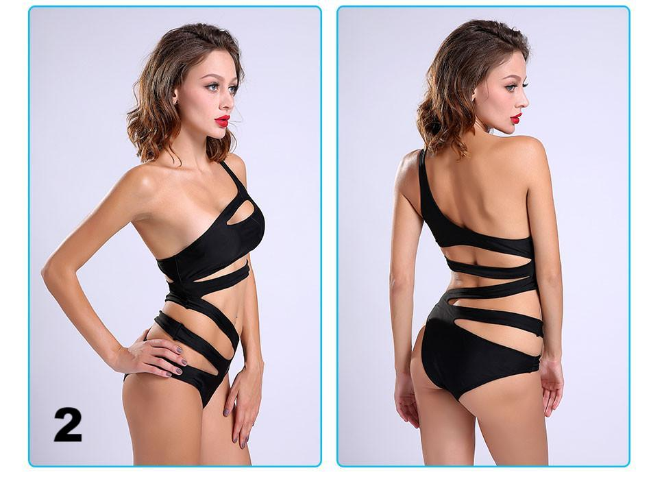 NEW Sexy One Shoulder Cut Out Monokini Swimwear