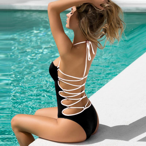 One Piece Hollow Out Halter Bandage Monokini Swimwear