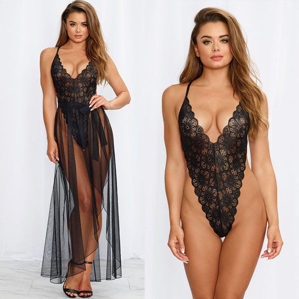 Hollow Out Backless Bodysuit + Dress Nightwear