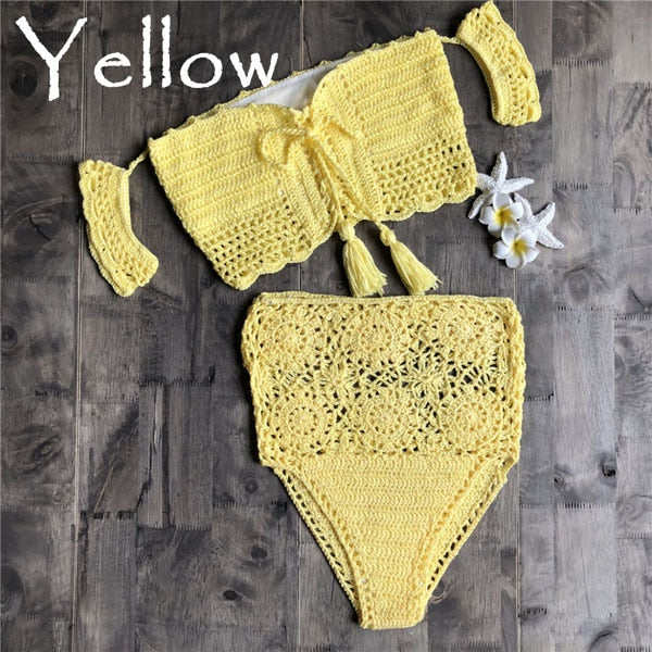 Crochet High Leg Bandeau High Waist  Bikini Set