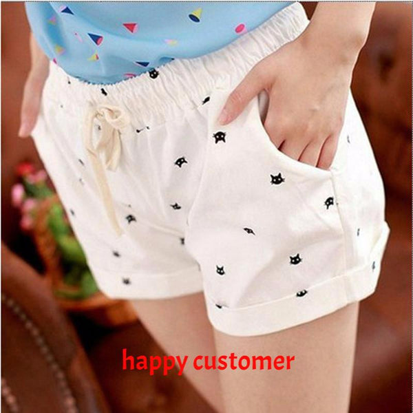 New Summer High Waist Elastic Shorts With Printed Cats