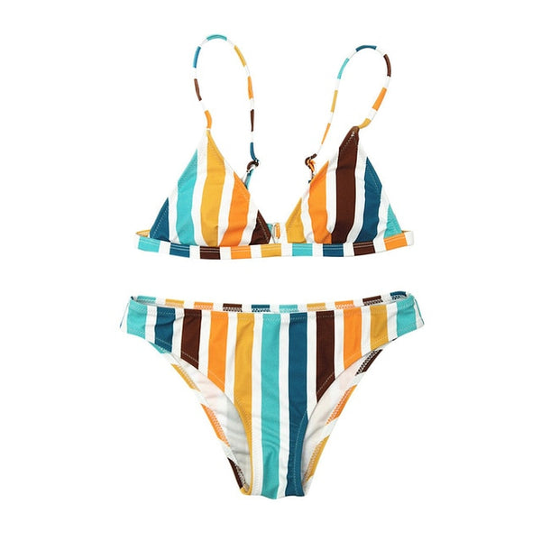 High Waist Two-piece Beach Push-ups Bra Vertical Stripes Swimwear
