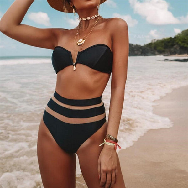 2019 High Waist Solid Mesh Push-up Padded Swimsuit
