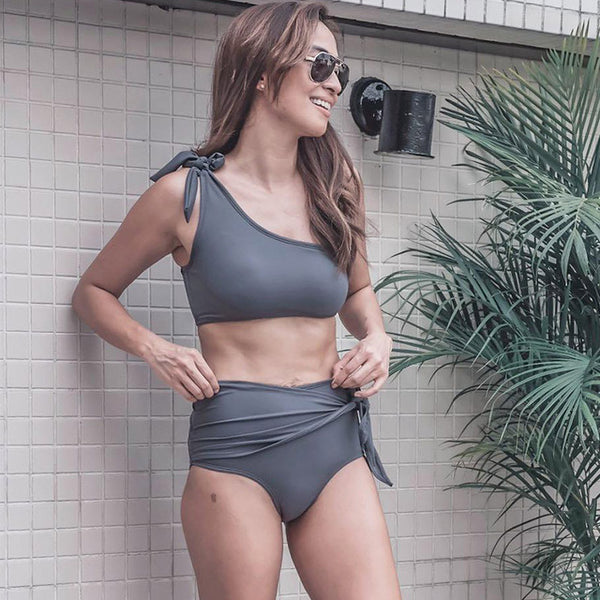 2019 One Shoulder High Waist Bikini Swimwear