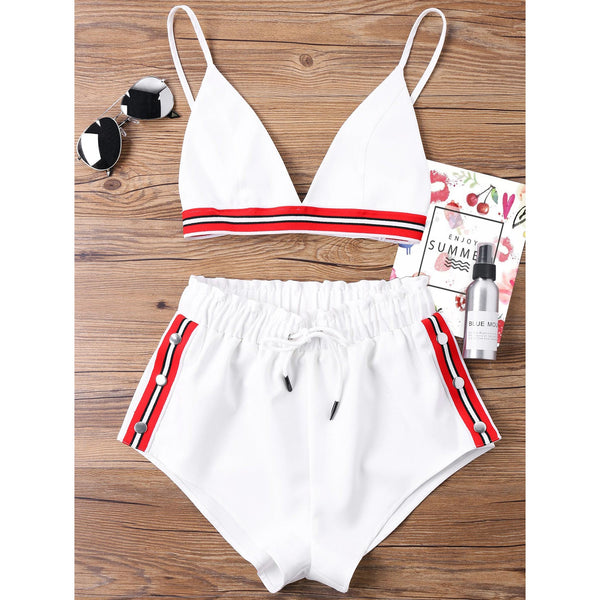 Crop Top with High Cut Tie Elastic Waist Shorts Suit