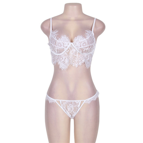 Soft Lace See Through Sexy Triangle Bra Set