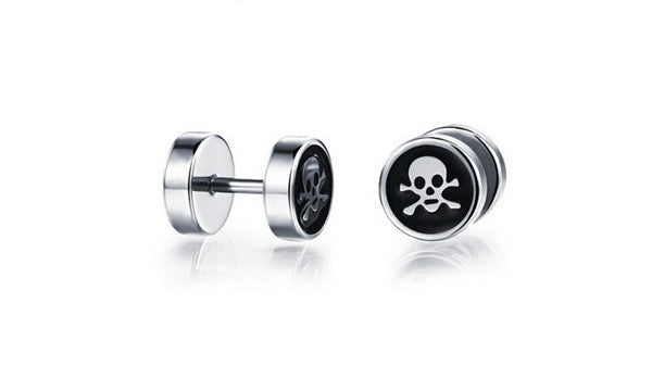 Pirate Skull Round Earrings