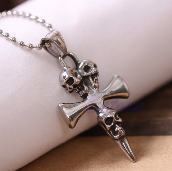 Unisex Stainless Steel Skull Cross Biker Necklace