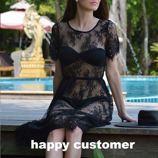Women's O Neck See Through Beach Wear