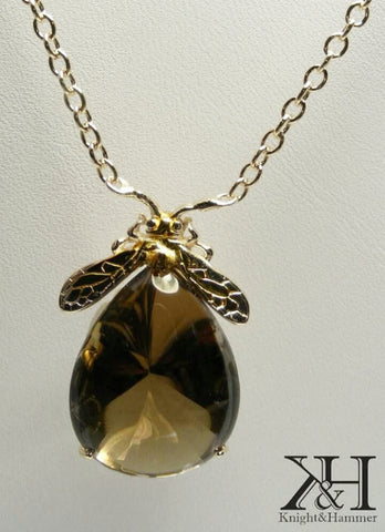 Bee Mine large quartz gemstone necklace