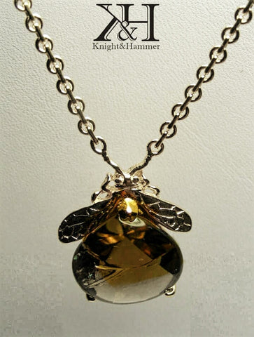 Bee Mine quartz gemstone necklace
