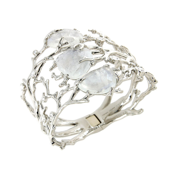ALARIA Bangle Palladium with Moonstones