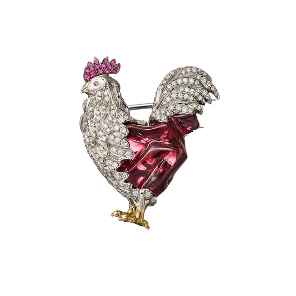 Brooch Rooster Red Spinel