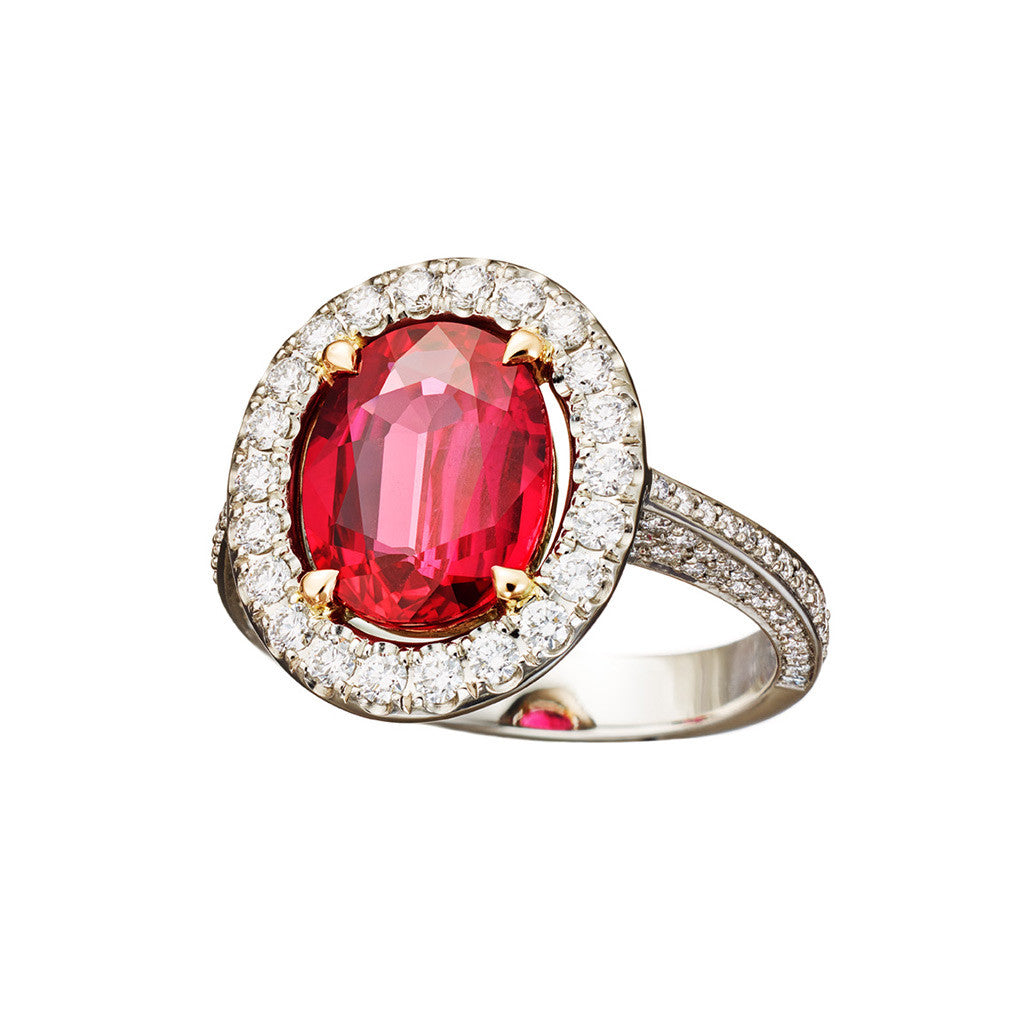 AENEA CANDY COLLECTION Ring Platinum with Ruby and White Diamonds