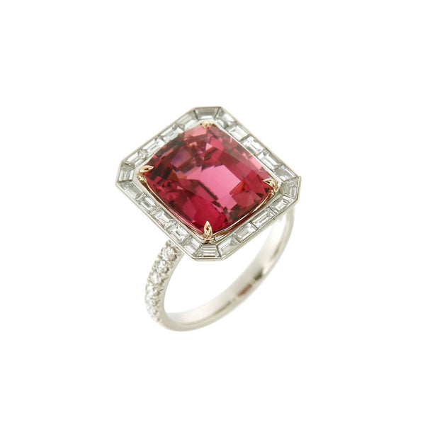 Ring White Gold with a 7.3ct. Pink Tourmaline and White Diamonds