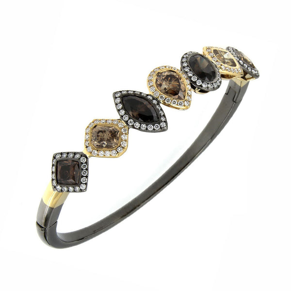 AENEA CANDY Collection Bangle Yellow Gold and Rhodium-plated Sterling Silver with Brown Diamonds