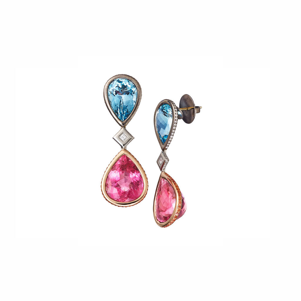 AENEA CANDY COLLECTION Earrings Platinum with Aquamarines and Tourmalines