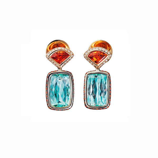 AENEA CANDY Collection Earrings Pink Gold and Rhodium-plated Sterling Silver with Berryls and Orange Sapphires