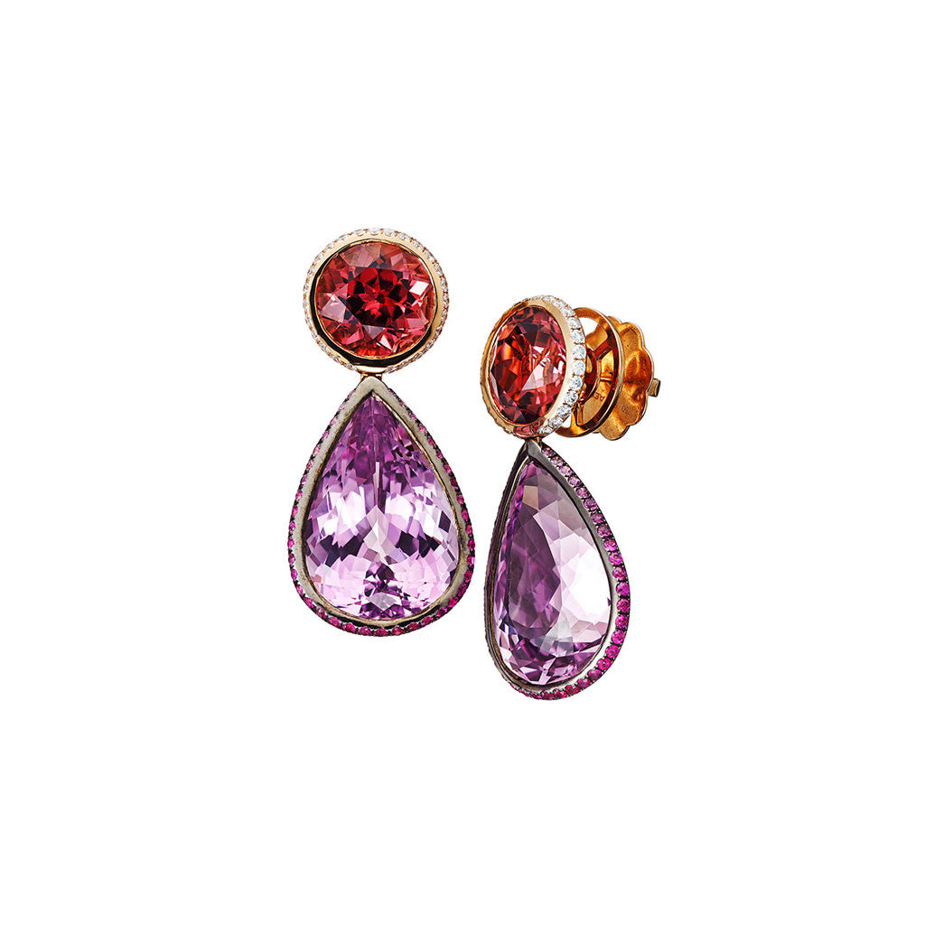 AENEA CANDY COLLECTION Earrings Pink Spinel, Kunzites, Pink Sapphires and White Diamonds