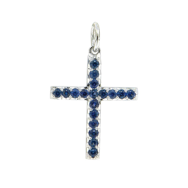 AENEA CHARM COLLECTION Pendant Cross WhiteGold with Blue Sapphires