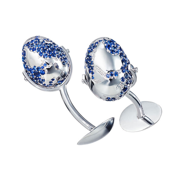 "Cufflinks ""World Egg"" White Gold with Blue Sapphires"