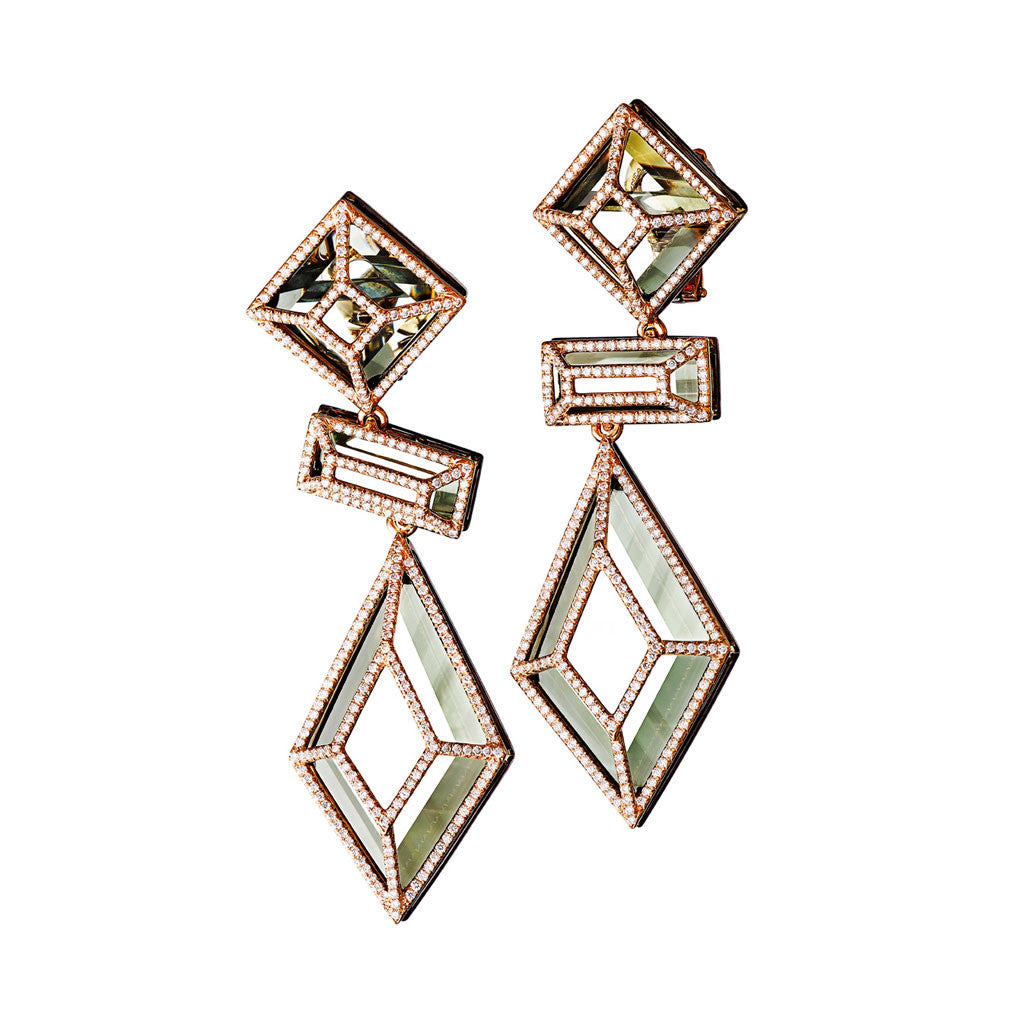 Earrings Pink Gold with White Diamonds and Green Amethysts