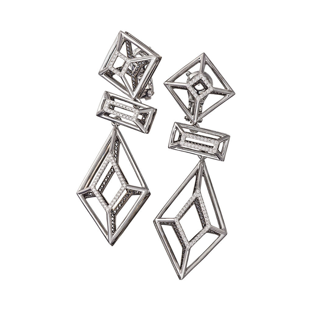 Earrings White Gold with White and Black Diamonds