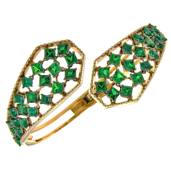 AENEA FLOW Collection Bangle Yellow Gold and Rhodium-plated Sterling Silver with Emeralds, Tsarvorites and White Diamonds