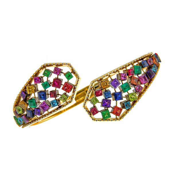 AENEA FLOW Collecion Bangle Yellow Gold and multicolor Gemstones and White Diamonds