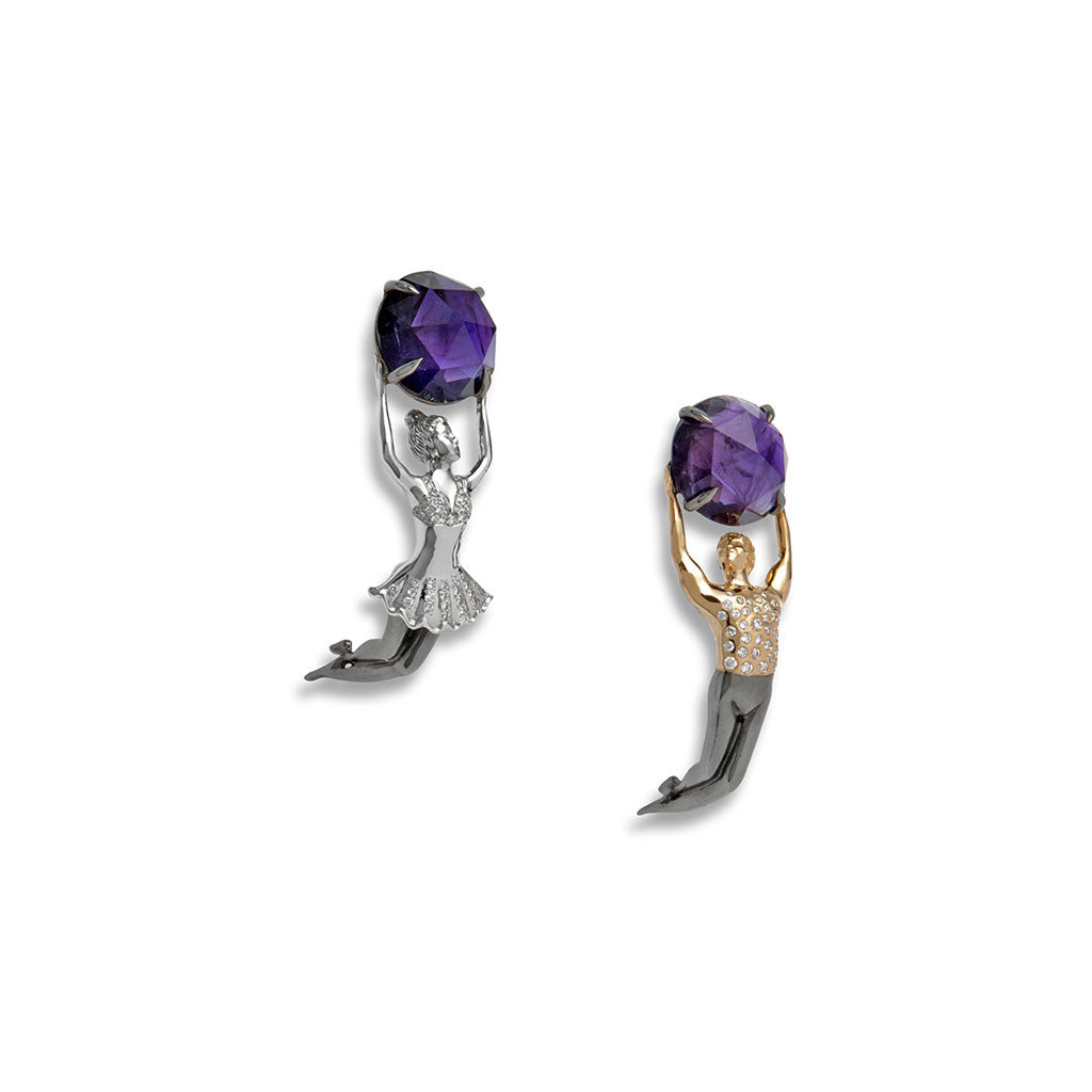 Earrings Amethysts & Diamonds