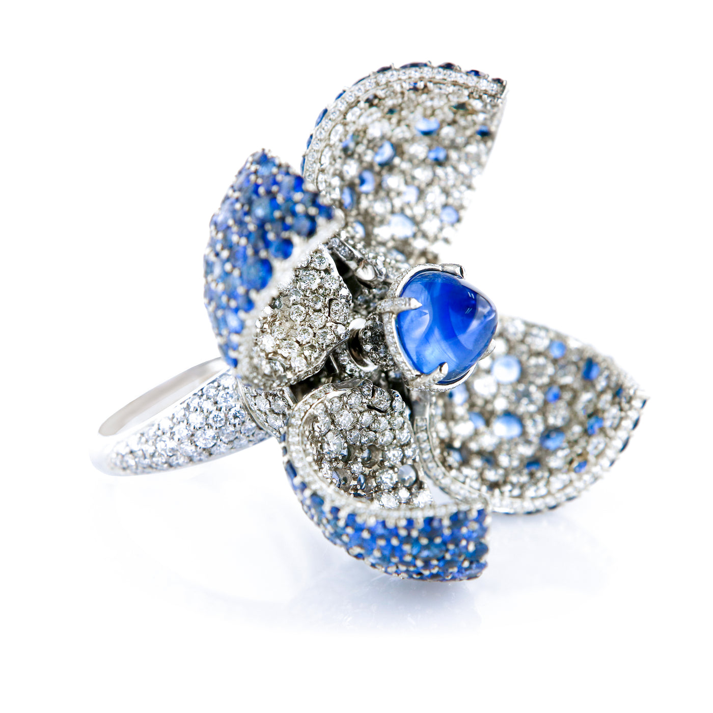 "Ring ""Blue Mangosteen""  White Gold with White Diamonds and Blue Sapphires"