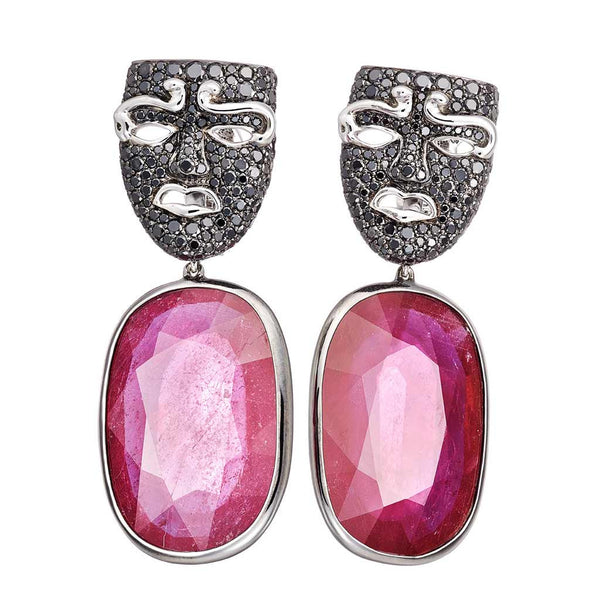 Earrings Medusa Ruby