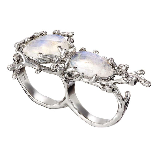 Ring Rainbow-Moonstone Double