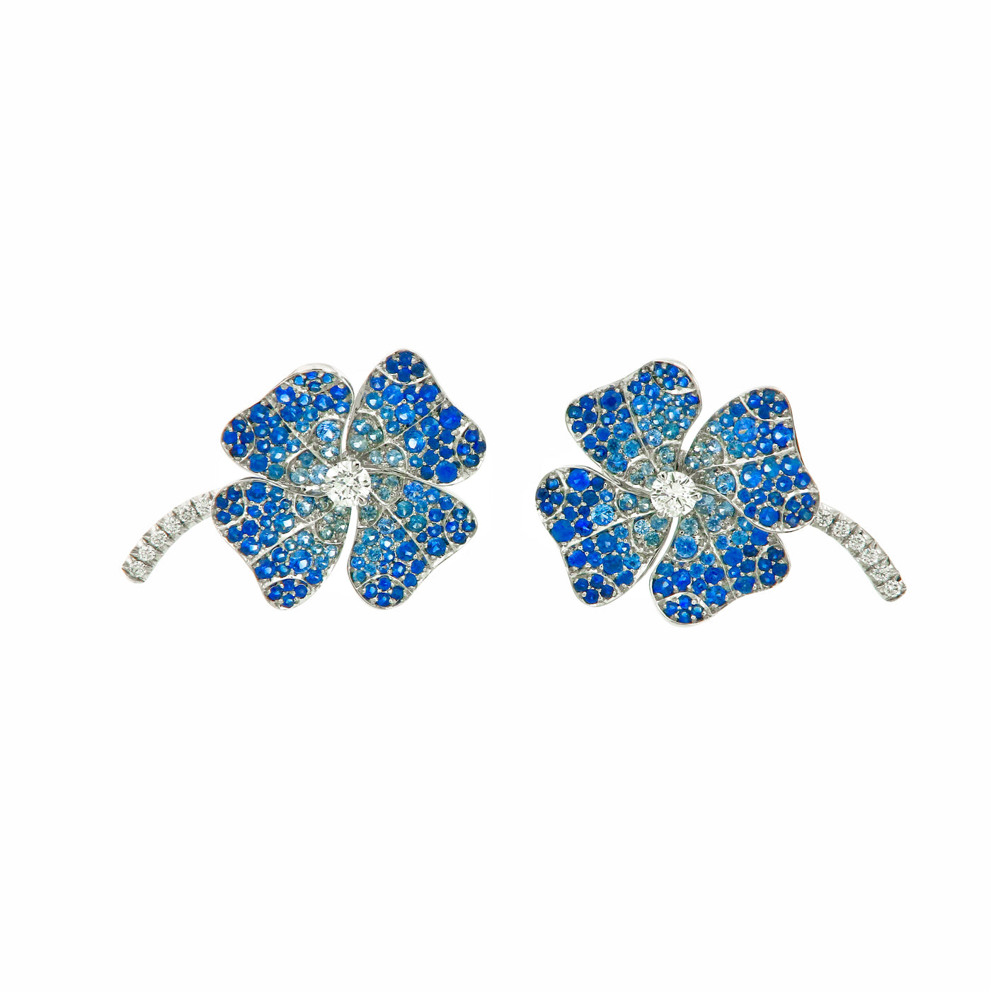 Earrings White Gold with White Diamonds and Blue Sapphires (Big)