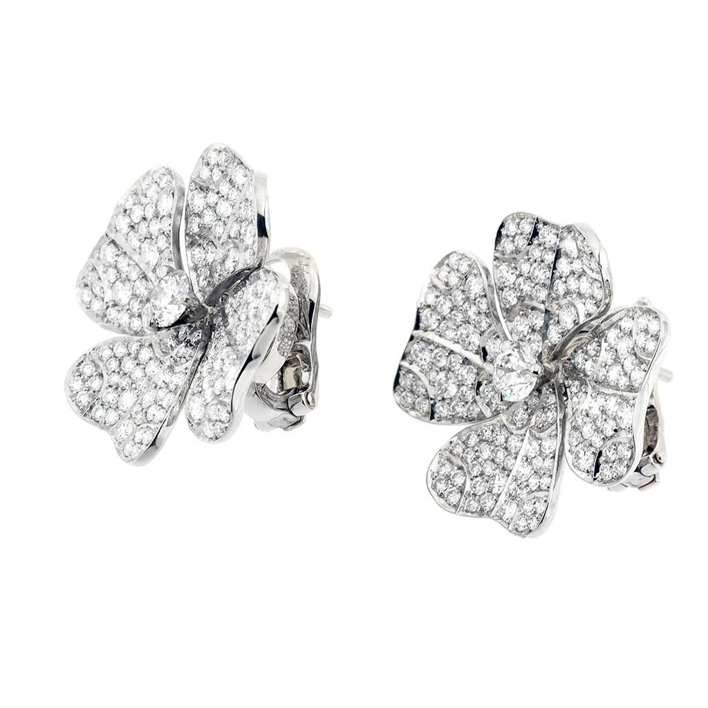 AENEA QUADRIFOGLIO Collection Earrings Palladium with White Diamonds
