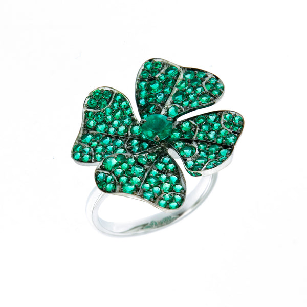 Ring White Gold with Emeralds and White Diamonds