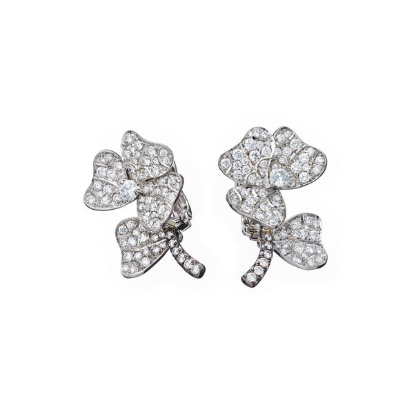 AENEA QUADRIFOGLIO Collection Earrings Platinum with White Diamonds
