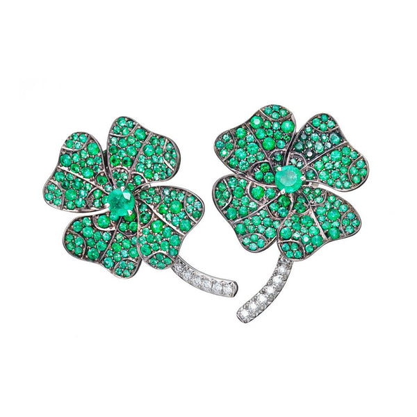AENEA QUADRIFOGLIO Collection Earrings Platinum and Rhodium-plated Sterling Silver with White Diamonds and Emeralds