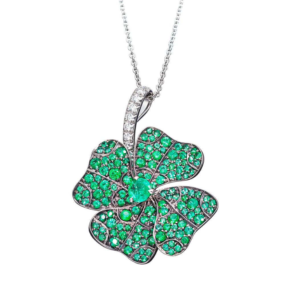 AENEA QUADRIFOGLIO Collection Pendant Platinum with White Diamonds and Emeralds