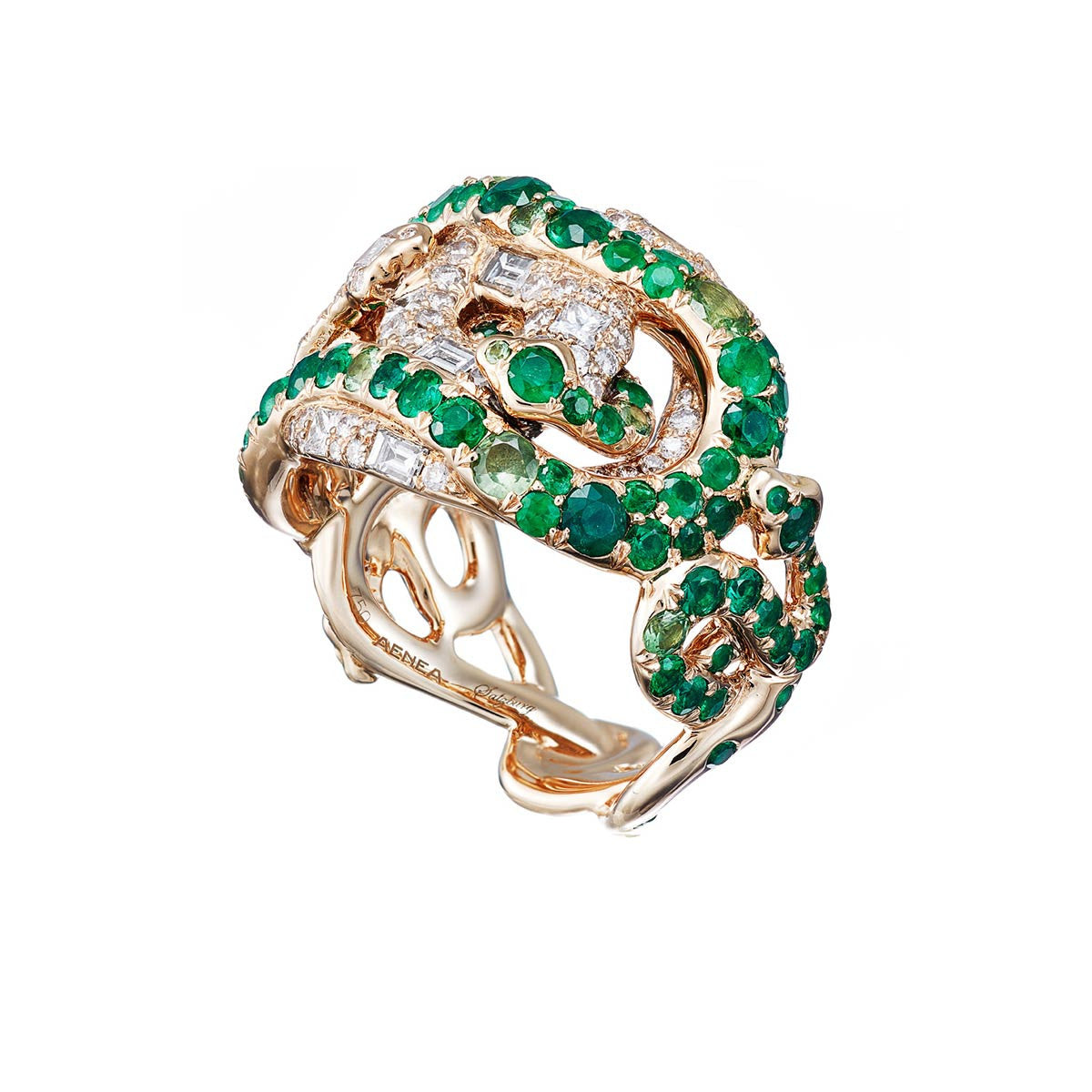 "Ring ""4 Snakes"" Yellow Gold with Emeralds and White Diamonds"